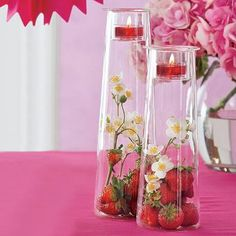 What a fun centerpiece!! Perfect for weddings, showers, birthday parties, home decor, anything to give height to the table :) #glass #centerpiece #candles #vase #partylite #homedecor #strawberries  Clearly Creative™ Tall Symmetry Pair