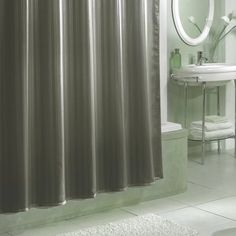 Excell Damask Stripe Fabric Shower Curtain Liner, Gray