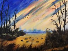 Ducks In A Pond - Bob Ross Style Painting, Handmade Acrylic Painting On Stretched Canvas Bob Ross Paintings, Landscape Artwork, Fantasy Paintings, Art For Art Sake, Canvas Artwork, Beautiful Landscapes, Ducks, Pond, Scenery