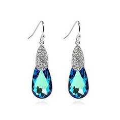 Alvdis One Pair Oval Style Swarovski Crystal Fashion Ear Ring Earring Blue -- Details can be found by clicking on the image.