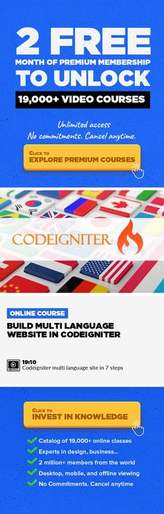Build multi language website in codeigniter Technology, Programming, Web Development, Php, Website, MySQL, Web, Programming Languages #onlinecourses #onlinemastersschools #bestonlinecollege   Creating multilingual website is an easy task, but sometimes it appears as a tricky task, in my opinion the reason is that task have a full cycle which starts from a specific point and ends to a specific poin...