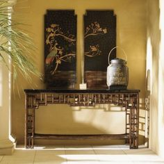 Tommy Bahama Home Royal Kahala Mystic Leather Console Table West Indies Decor, Lexington Home, British Colonial Style, Asian Design, Panel Headboard, Cozy Place, Leather Furniture, Beautiful Interiors, Tommy Bahama