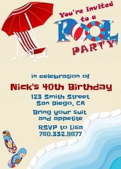 Poolside Pool Party - Personalized Birthday Party Invitations - Visit www.candlesandfavors.com for personalized invitations, thank you notes and party favors!!!