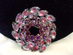 D E Juliana Flower Brooch Vintage Purple Pink Glass Rhinestone Gold Plate | eBay