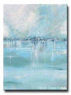 "ORIGINAL Art Abstract Painting Blue Sea Foam Green Grey White Textured LARGE Canvas Coastal Wall Art Decor 36x48"" - Christine Krainock Art - Contemporary Art by Christine - 1"