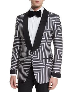 """Tom Ford """"Buckley"""" base suit jacket in geometric-print. Lean silhouette; narrow shoulders for sartorial look. Shawl collar; satin one-button front. Front besom pockets with satin trim; hand-cut chest"""
