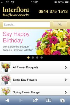Interflora mobile site homepage : What do shoppers actually want from a mobile experience?