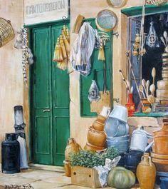 Παραλής Γεώργιος-Παντοπωλείον Mediterranean Art, Greece Painting, 10 Picture, Conceptual Art, Fresco, Printmaking, Mosaic, Folk, Greek