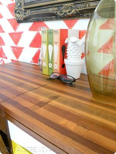 """Four different stain colors (and lots and lots of layers) made this """"butcher block"""" desk come to life."""