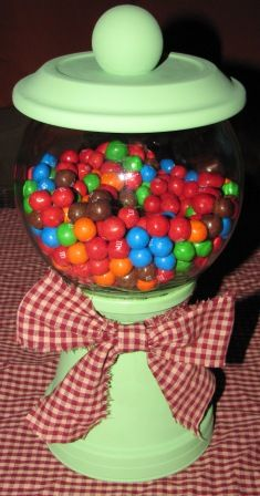 DIY Candy Jar: THis one has a flower pot on bottom looks like it would sturdy for the big jars that we have