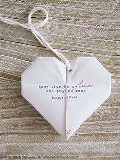 Folded paper heart.  I wonder what the message says inside . . .  #hearts #paper #diy