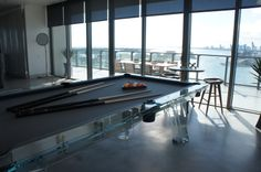 Filotto Pool table in South Beach! www.impatia.com #gametables #pooltable #glasspooltable #design