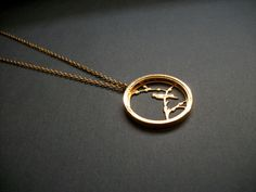 Vintage Gold Trifari Bird Necklace Circle Branch Medium Length Gold Toned Metal Figural Necklace Vintage on Etsy, $28.00