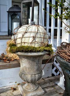 earth style, fall decor, anthropologie, pumpkins, fall 2014, pumpkin urn, fall idea, country, vine pumpkin