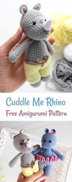 Crochet Rhino today with this easy to follow FREE Cuddle Me Rhino Pattern!