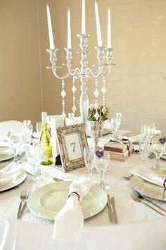 crystal candelabra // Liesl & JC's pretty vintage wedding