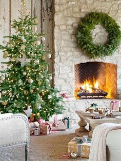 Fireplace with neutral tree and pops of color from wrapped gifts