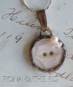 Fiona & The Fig  Antique MOP Button Charm Soldered Necklace Pendant - as a charm with others..