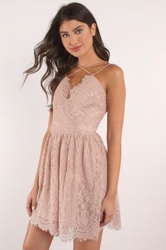 Fall in lace a little more with the Emalea Multi Strap Skater Dress. Strappy skater dress featuring a lacy, delicate v-neck and unique front to back c - Fast & Free Shipping For Orders over $50 - Free Returns within 30 days!