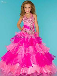 Wholesale Custom Made2013 New Pretty Girls' Pageant Dresses Ball Gown Beaded Ruffled Fuchsia Organza Beaded Party Dress Pageant Dress, Free shipping, $125.44-133.28/Piece | DHgate