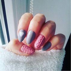 Cute pink and blue pastel sweater nail art bmodish