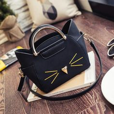 PU Mini Shoulder Bag Cute Cat Ear Messenger Bags Cartoon Lovely Handbags Simple Girl Clutch Women Kids All-Match Key Coin Purse - Cute Bags - Cats Leather Purses, Leather Handbags, Pu Leather, Mode Lolita, Lolita Style, Cat Nose, Cat Bag, Cat Accessories, Black Purses