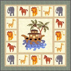 Noah's Ark applique quilt pattern by Sindy Rodenmayer Quilting Projects, Sewing Projects, Quilting Ideas, Sewing Ideas, Applique Quilt Patterns, Cat Applique, Animal Quilts, Baby Quilts, Children's Quilts