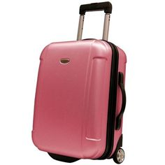 "Pink Carry On Upright Luggage Hard Case Suitcase Wheels Travel 21"" Lightweight  #TravelersChoice"