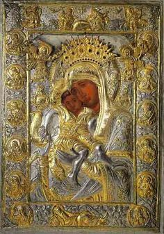 """Icon of the Mother of God """"Axion Estin,"""" preserved in the Church of the Protaton in Karyes on Mount Athos"""