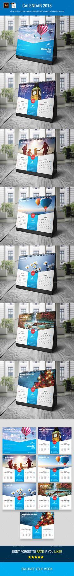 Calendar 2018 - Calendars Stationery    #calendars  #stationery  #DeskCalendar  #graphicriver  #Design #Desk #buisness