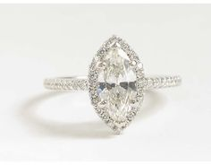 Marquise Cut Halo Diamond Engagement Ring in 18k White Gold | Blue Nile