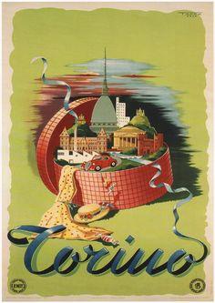 TURIN (Torino) - 1949 - Poster di Viaggi Vintage Italiano A1 Finitura Opaca (840 mm x 594 mm)