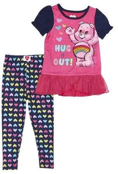 Care Bears Girl 4 PC Long Sleeve Tight Fit Cotton Pajama Set Size 5T