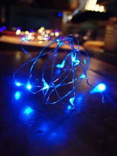 Blue fairy moon lights out on the town! #fairylights