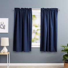 Deconovo Blackout Curtains Bedroom Super Soft Thermal Insulated Curtains Blackout Eyelet Blackout Curtains 46 x 54 Inch with Two Matching Tie Backs Black 2 Panels Types Of Curtains, No Sew Curtains, Kids Curtains, Cool Curtains, Rod Pocket Curtains, Blackout Curtains, Panel Curtains, Navy Curtains, Window Panels