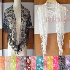 Lace Sheer Floral Print Triangle Veil Church Mantilla Scarf Shawl Wrap Tassel 15 | eBay