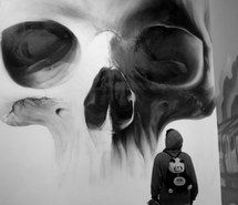 Inspiring image art, black and white, boy, graffiti, grunge, indie, rock, skull #2350865 by miss_dior - Resolution 500x667px - Find the image to your taste