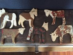Amazing early primitive antique folk art wooden farm animals horses and cow! All original paint and si very charming! One of a kind!