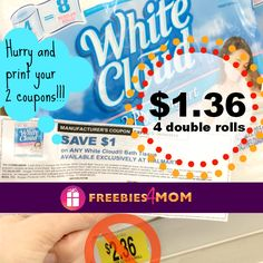 Go print 2 more White Cloud coupons to SAVE 42%!!!  *COUPON RESET* http://freebies4mom.com/whitecloud/