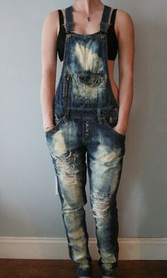 Distressed Pant Overalls Dark Denim with Rips by PeytonThePrincess, $40.00