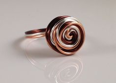 Spiral Ring Funky Ring Wire Wrapped Jewelry Handmade Unique Ring Wire Wrapped Ring Handmade Simple Ring ITEM0309. $19.95, via Etsy.