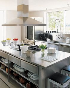 Stainless steel kitchen; Peri Wolfman Love this big stainless island cooktop thing;  restaurant supply?