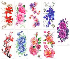 DaLin Sexy Temporary Tattoos Women 9 Sheets Peony Flower Plum Blossoms Blue Rose Morning Glory * Read more  at the image link. Note:It is Affiliate Link to Amazon.