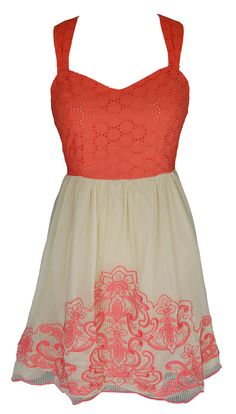 Beige & Coral Embroidery Dress
