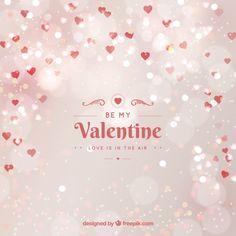 Blurred valentine's day background in white Free Vector