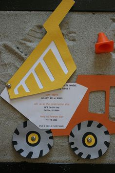 Construction party invitations... this is adorable, and I could totally do that!