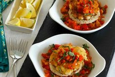 Frekedel with Creole Sauce ~ Aruban Style Fish Cakes ~ Food of the World ~ Lydia's Flexitarian Kitchen