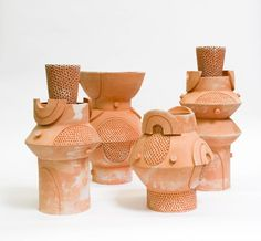 Terracotta, 12 x Unlimited edition, individual planter are unique in size, glaze, and shape. Hallow form works well for outdoor and indoor use. Not meant Ceramic Clay, Ceramic Vase, Ceramic Pottery, Slab Pottery, Floor Lanterns, Planters For Sale, Keramik Design, Pottery Sculpture, Ceramic Sculptures