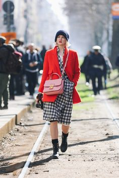 Tomato red, pink and monochrome gingham… why not?