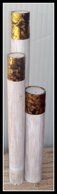 Tris di candele in bamboo bianco e oro realizzato a mano. misure: alta cm 100/80x60 circa